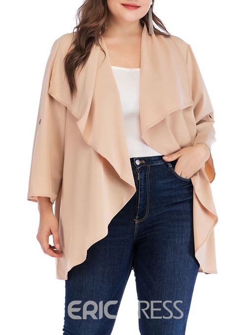 Ericdress Plus Size Mid-Length Lace-Up Nine Points Sleeve Loose Trench Coat