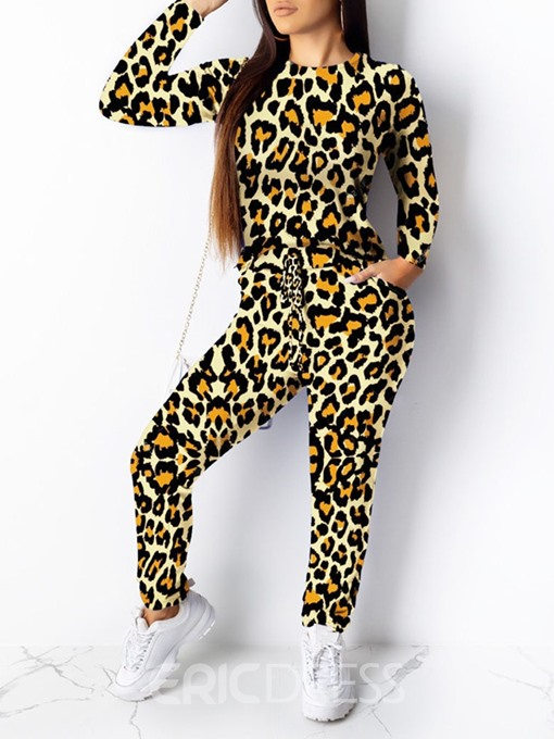 Ericdress Leopard Print Round Neck Pullover Two Piece Sets