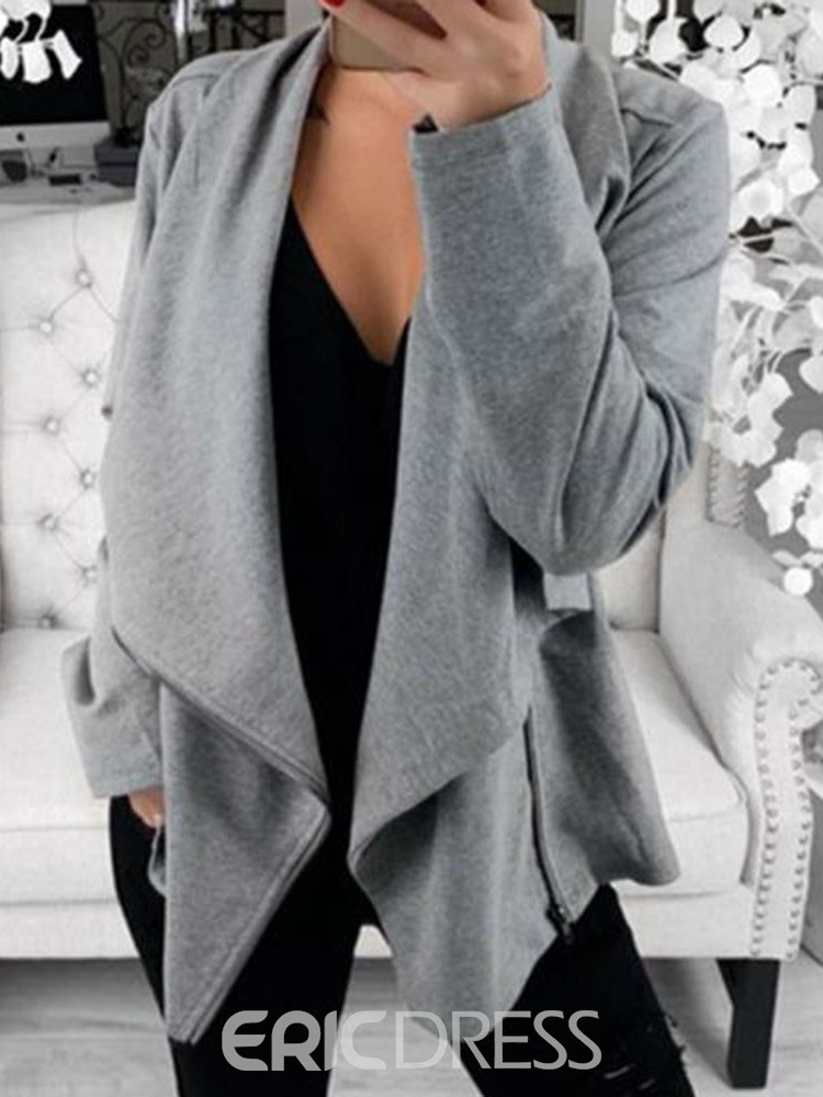 Ericdress Zipper Straight Long Sleeve Mid-Length Jacket