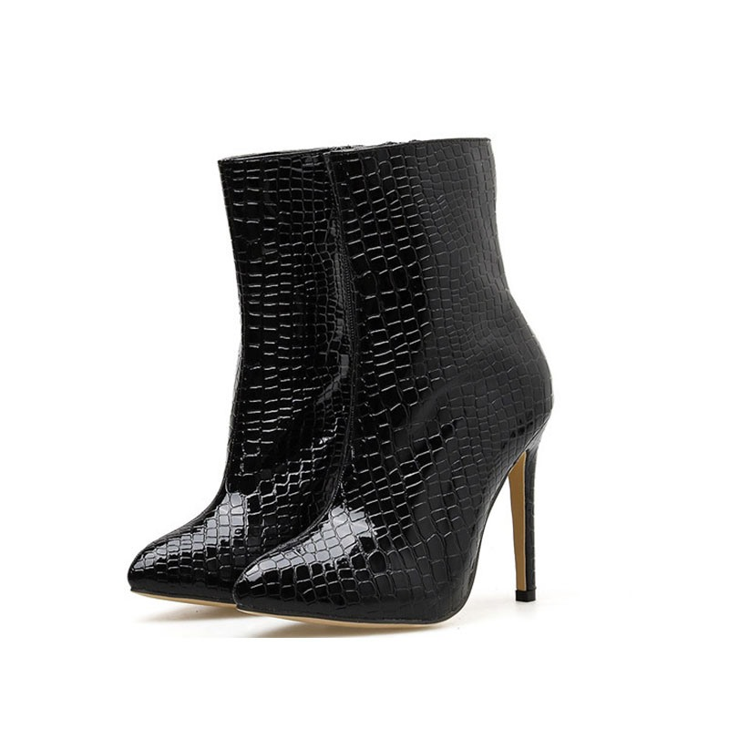Ericdress PU Alligator Pattern Side Zipper Pointed Toe Women's Ankle Boots