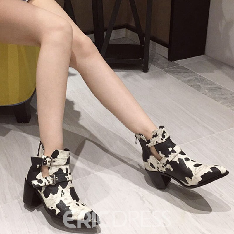 Ericdress Chunky Heel Back Zip Pointed Toe Buckle Women's Ankle Boots