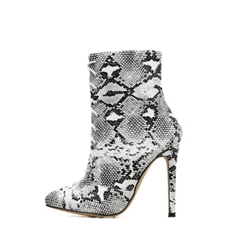 Ericdress Serpentine Pointed Toe Lace-Up Front Stiletto Heel Women's Ankle Boots
