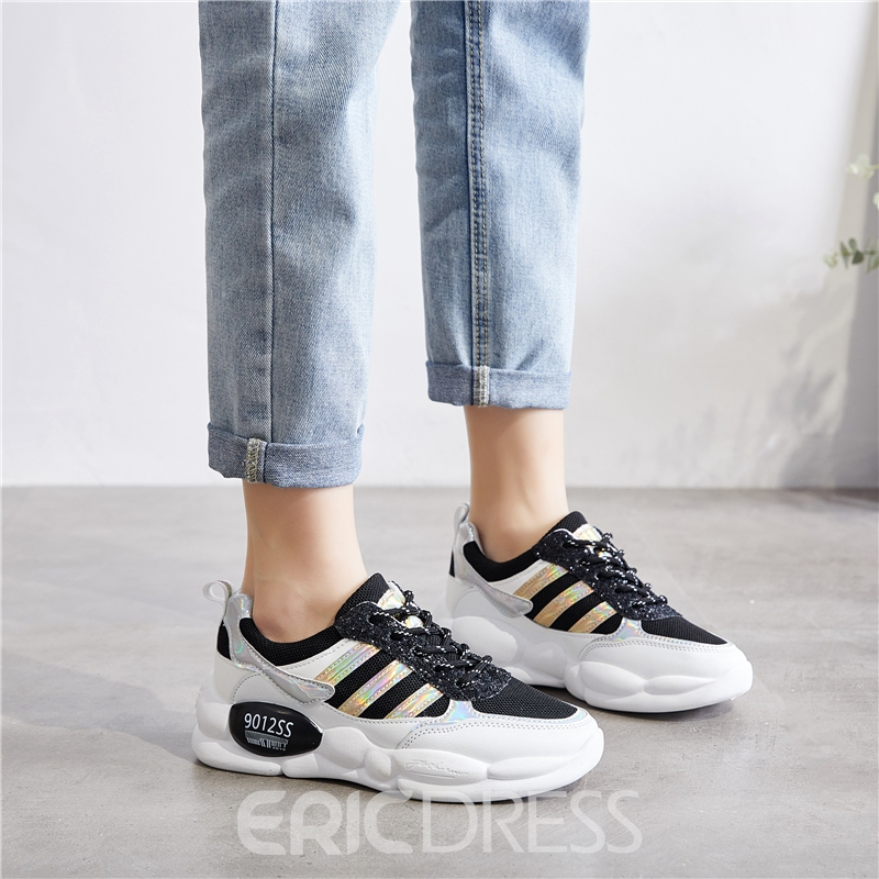Ericdress Round Toe Low-Cut Upper Lace-Up Patchwork Women's Sneakers
