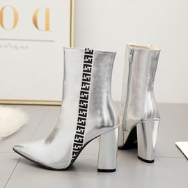 Ericdress Color Block Chunky Heel Pointed Toe Women's Ankle Boots