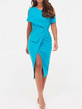 Ericdress Short Sleeve Asymmetric Oblique Collar Bodycon Plain Dress