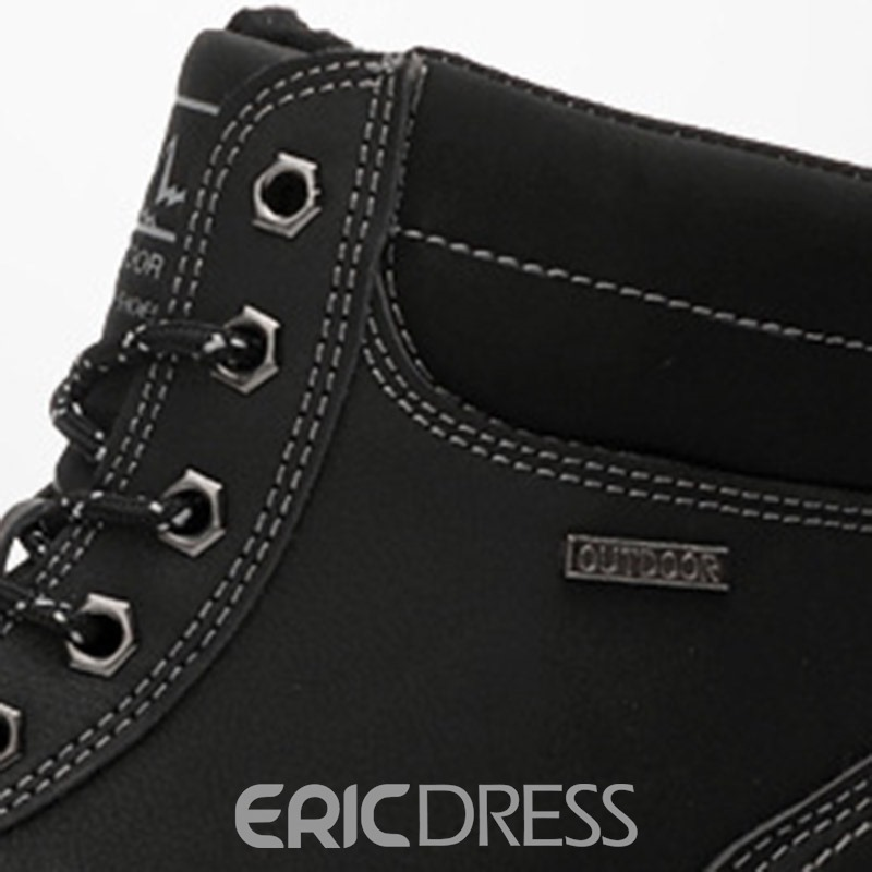 Ericdress Lace-Up Front Round Toe Men's Snow Boots