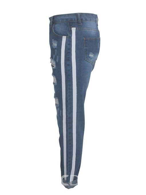 Ericdress Stripe Hole Slim Zipper Jeans