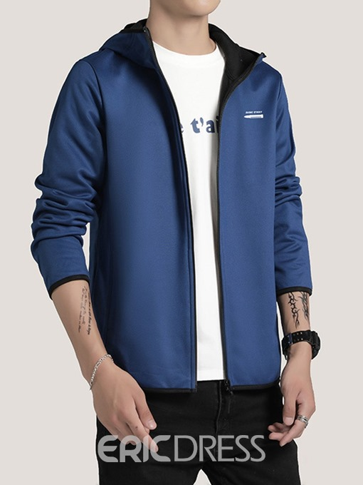 Ericdress Zipper Color Block Hooded Spring Men's Jacket