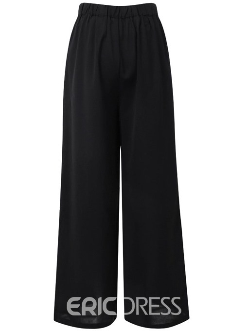 Ericdress Loose Plain Button Wide Legs Full Length Casual Pants