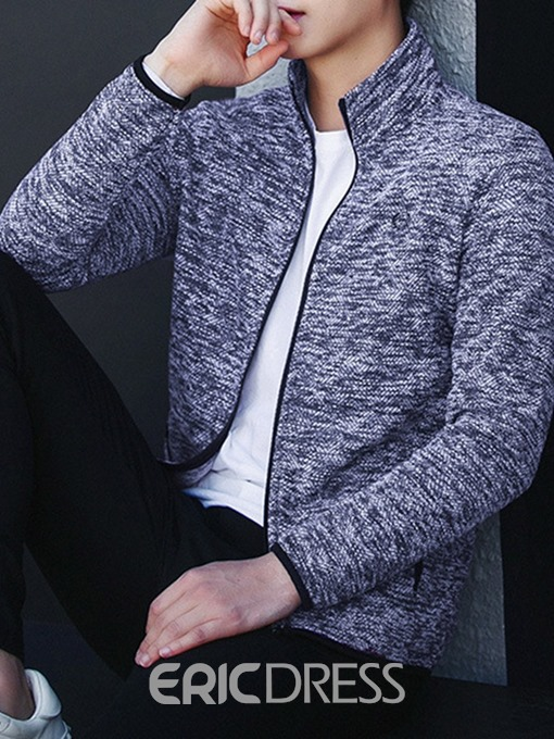 Ericdress Cardigan Color Block Pocket Zipper Men's Slim Hoodies