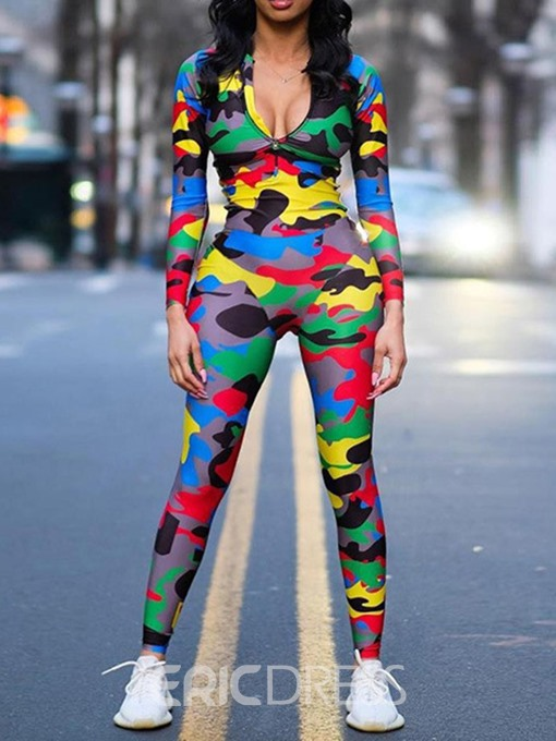Ericdress Print Color Block Camouflage Skinny Jumpsuit