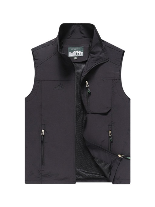 Ericdress Stand Collar Patchwork Plain Zipper Men's Waistcoat