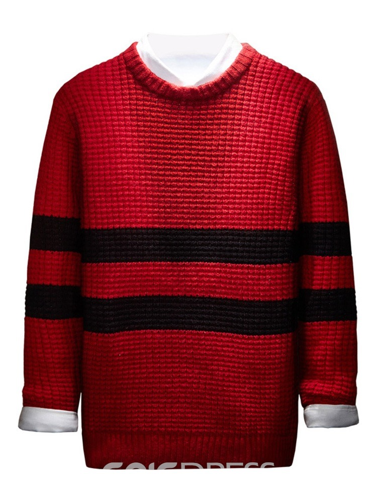 Ericdress Round Neck Color Block Mid-Length Spring Men's Sweater