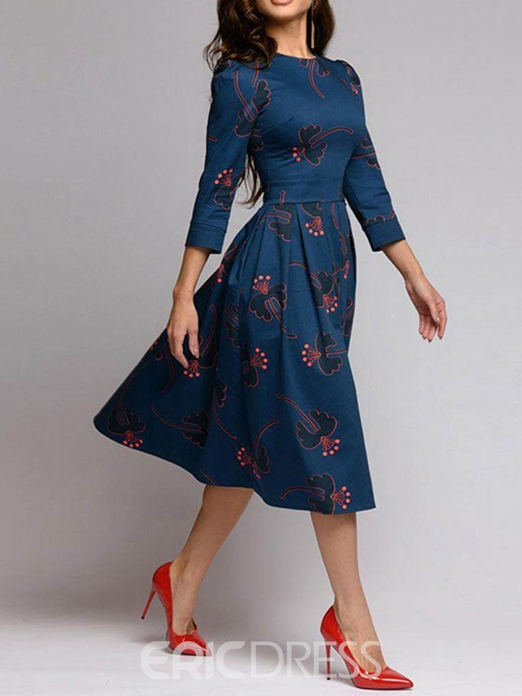 Ericdress Round Neck Print Three-Quarter Sleeve Floral Regular Dress