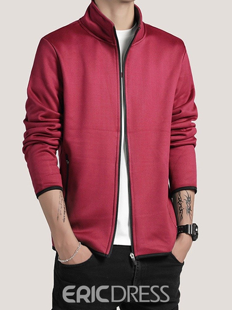 Ericdress Zipper Stand Collar Color Block Spring European Men's Jacket