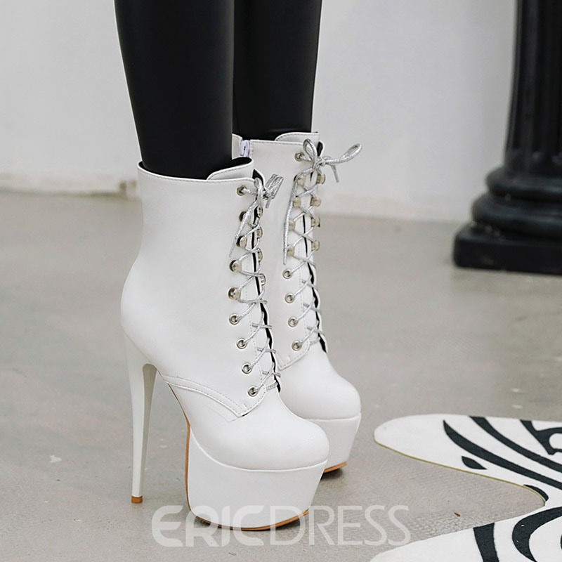 Ericdress Stiletto Heel Side Zipper Round Toe Women's Ankle Boots