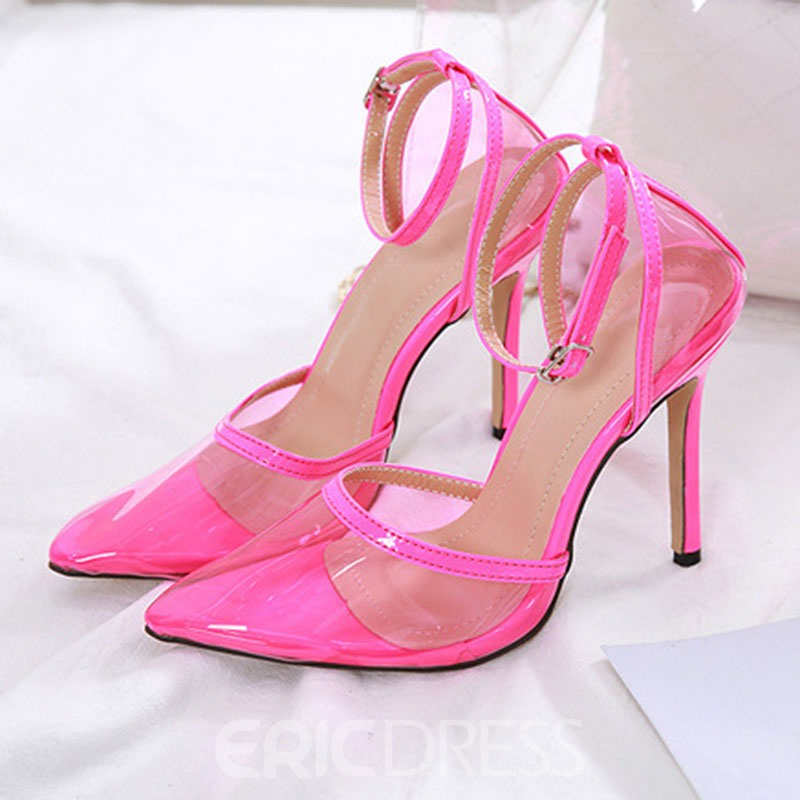 Ericdress PVC Line-Style Buckle Stiletto Heel Pointed Toe Women's Pumps