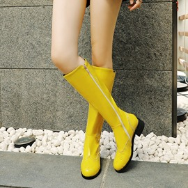 Ericdress Patchwork Block Heel Side Zipper Women's Knee High Boots