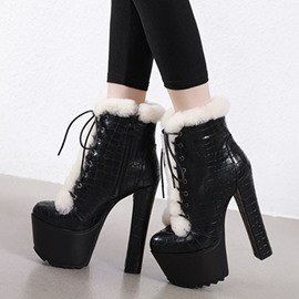 Ericdress Plain Round Toe Patchwork Side Zipper Women's Snow Boots