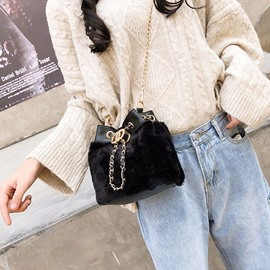 Ericdress Plain Faux Fur Barrel-Shaped Crossbody Bags