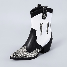 Ericdress Patchwork Pointed Toe Block Heel Women's Boots