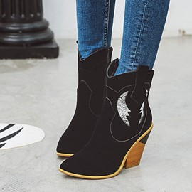 Ericdress Faux Suede Side Zipper Patchwork Pointed Toe Women's Boots