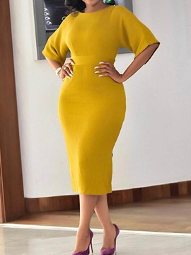 Ericdress Round Neck Half Sleeve Mid-Calf Regular Bodycon Dress
