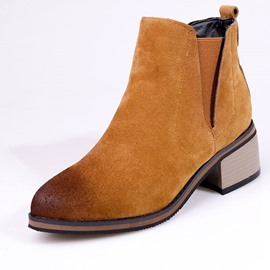 Ericdress Patchwork Round Toe Chunky Heel Women's Boots
