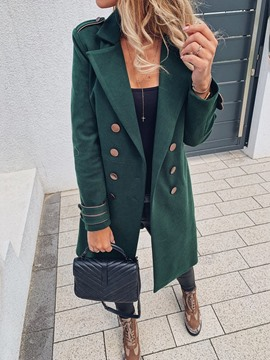 Ericdress Straight Double-Breasted Notched Lapel Long Overcoat