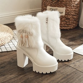Ericdress Side Zipper Round Toe Patchwork Women's Snow Boots