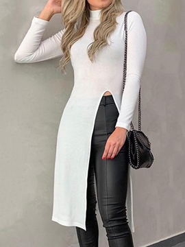 ericdress long t-shirt uni col roulé plaine