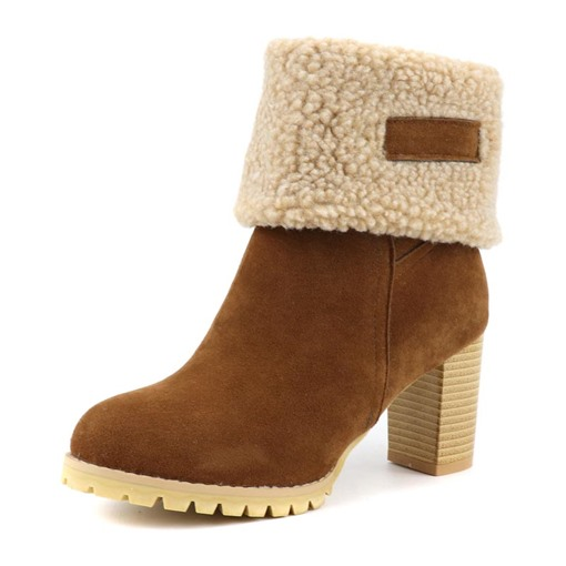 Ericdress Round Toe Patchwork Slip-On Women's Snow Boots