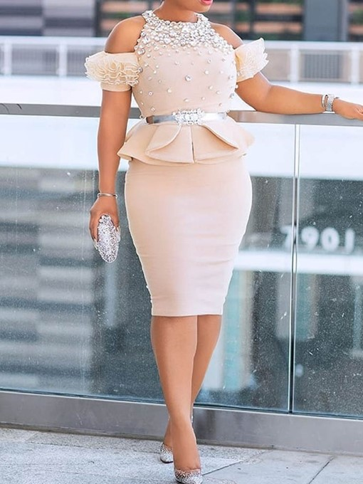 Ericdress Plus Size Lace-Up Fashion Sheath Round Neck Two Piece Sets