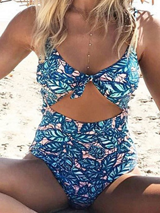Ericdress Floral Lace-Up One Piece Sexy Swimwear