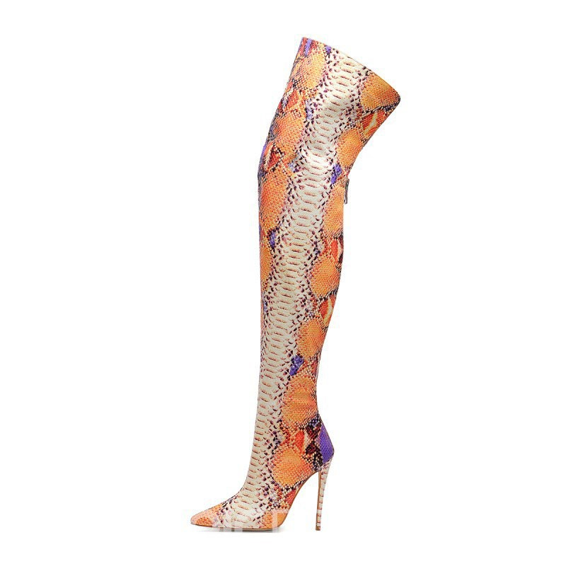 Ericdress Serpentine Pointed Toe Back Zip Women's Over The Knee Boots
