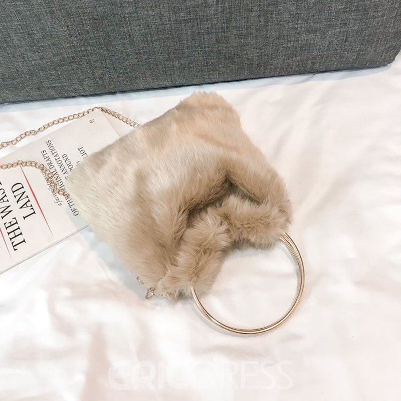 Ericdress Faux Fur Plain Barrel-Shaped Tote Bags