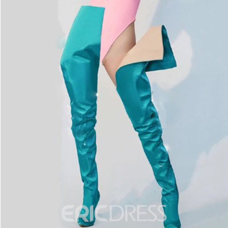 Ericdress Plain Slip-On Pointed Toe Women's Thigh High Boots