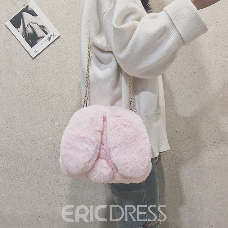 Ericdress Faux Fur Chain Animal Crossbody Bags
