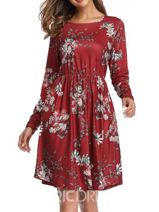 Ericdress Round Neck Long Sleeve Above Knee Date Night Casual Dress