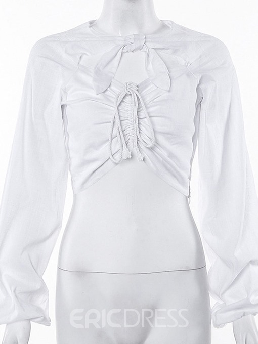 Ericdress Plain Lantern Sleeve Short Long Sleeve Blouse