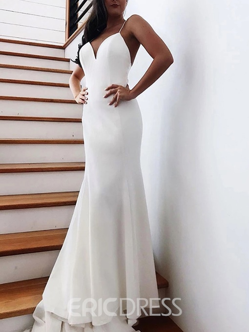 Ericdress Mermaid Spaghetti Straps Bowknot Backless Wedding Dress