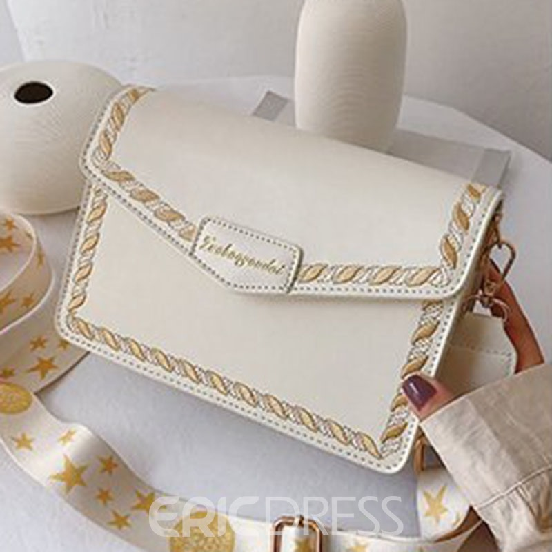 Ericdress Embroidery PU Rectangle Crossbody Bags