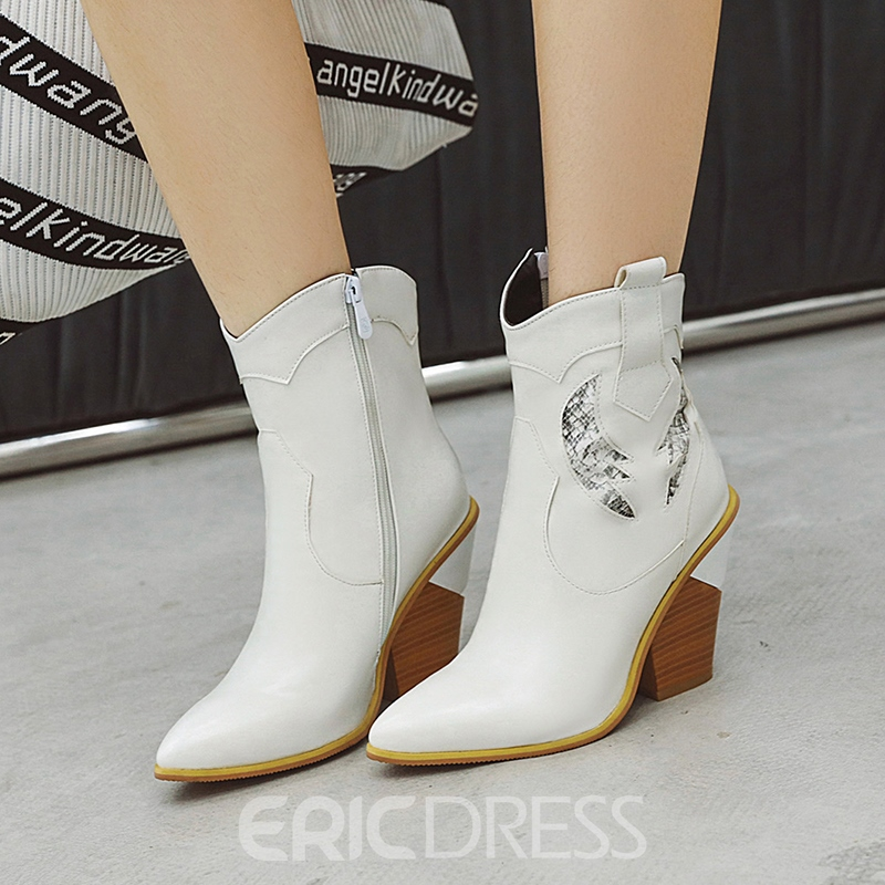Ericdress PU Patchwork Pointed Toe Chunky Heel Women's Boots