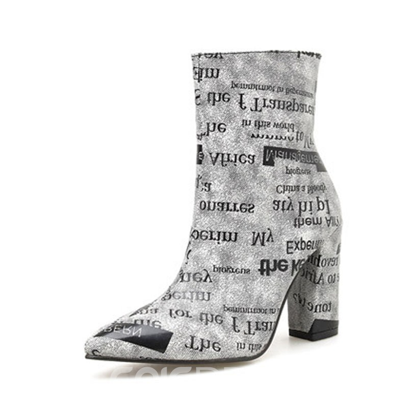 Ericdress PU Pointed Toe Side Zipper Women's Ankle Boots