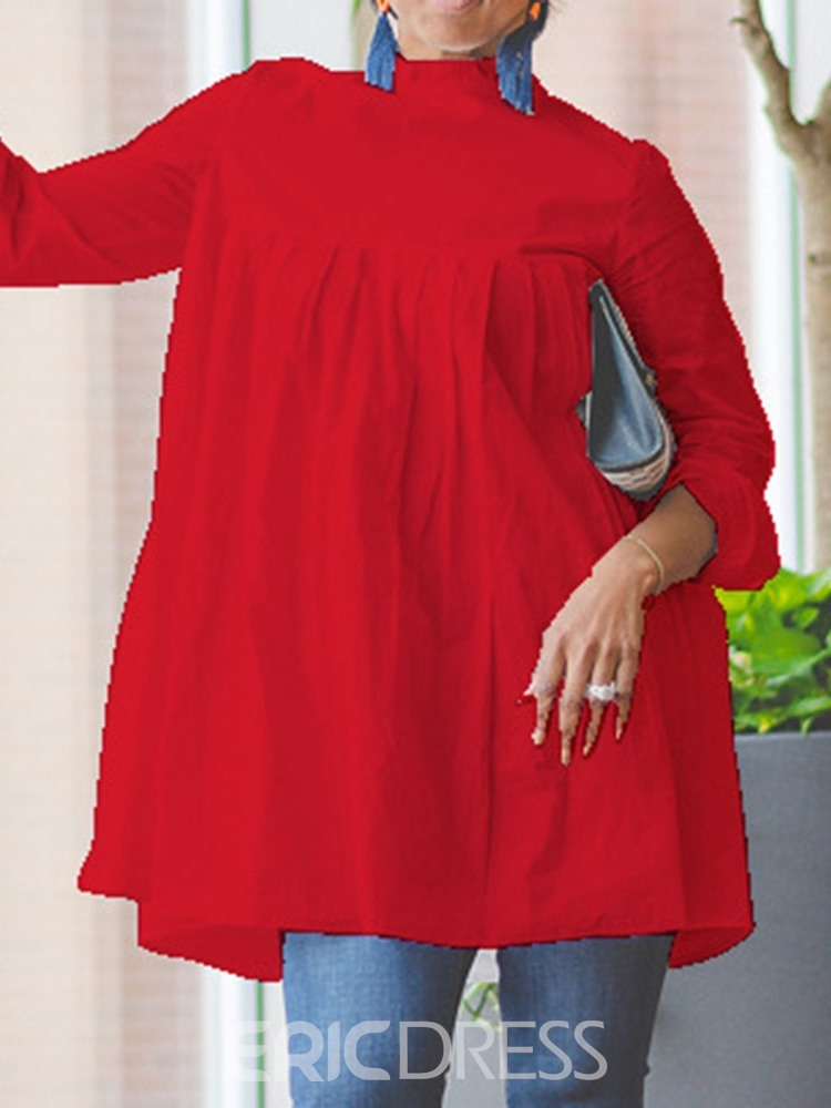 Ericdress Stand Collar Plain Long Sleeve Regular Mid-Length Blouse