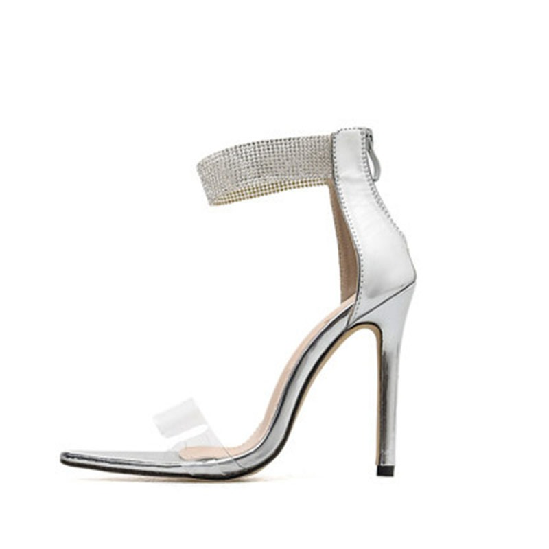 Ericdress PVC Rhinestone Heel Covering Open Toe Stiletto Heel Women's Sandals