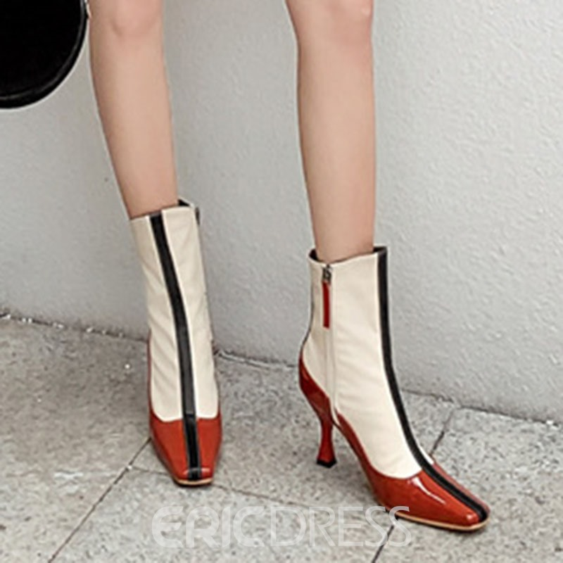 Ericdress Color Block Square Toe Stiletto Heel Side Zipper Women's Ankle Boots