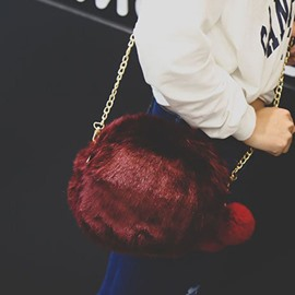 Ericdress Faux Fur Chain Plain Circular Crossbody Bags
