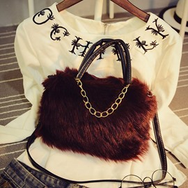 Ericdress Faux Fur Chain Rectangle Tote Bags