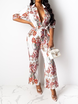 Ericdress African Fashion Dashiki Sexy Ankle Length Print Slim Bellbottoms Jumpsuit